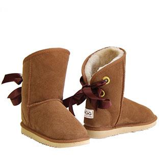 Bow Short Ugg Boots - Chestnut