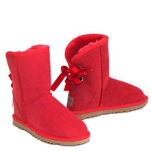 Bow Short Ugg Boots - Red
