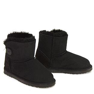 Button Wraps Mini Ugg Boots - Black