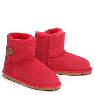 Button Wraps Mini Ugg Boots - Red