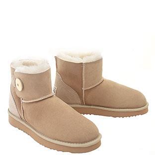 Button Wraps Mini Ugg Boots - Sand