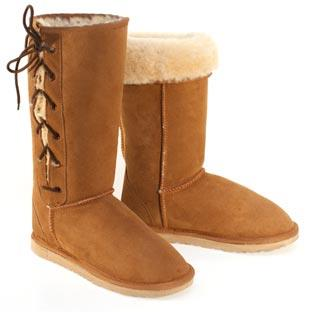 Classic Tall Lace Up Ugg Boots - Chestnut