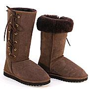 Classic Tall Lace Up Ugg Boots - Chocolate