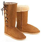 Deluxe Classic Tall Lace Up Ugg Boots - Chestnut