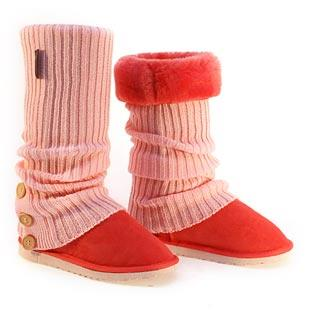 Knitted Tall Ugg Socks & Deluxe Boots - Strawberry