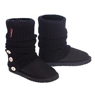 Knitted Ugg Socks & Short Deluxe Boots - Black
