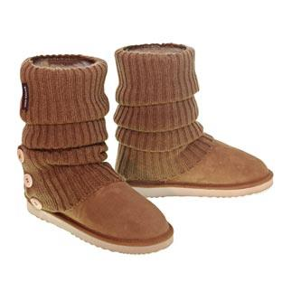 Knitted Ugg Socks & Short Deluxe Boots - Chestnut