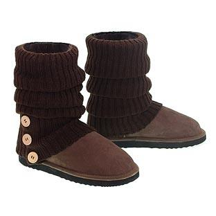 Knitted Ugg Socks & Short Deluxe Boots - Chocolate