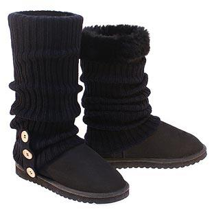 Knitted Ugg Socks & Tall Deluxe Boots - Black