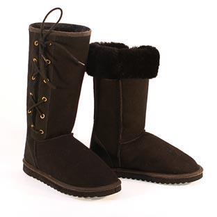 Classic Tall Lace Up Ugg Boots - Black
