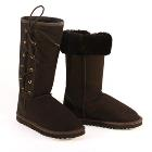 Deluxe Classic Tall Lace Up Ugg Boots - Black