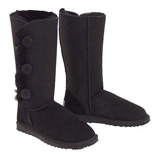 Tall Three Button Wraps Ugg Boots Black