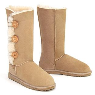 Tall Three Button Wraps Ugg Boots Sand