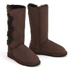 Tall Three Button Wraps Ugg Boots Chocolate