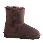 Two Button Wraps Ugg Boots - Chocolate