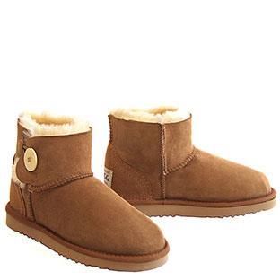 Button Wraps Mini Ugg Boots - Chestnut