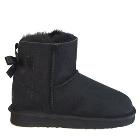 Mini Metro Bow Ugg Boots - Black