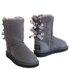 Short Metro Bow Ugg Boots - Grey
