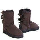 Short Metro Bow Ugg Boots - Chocolate