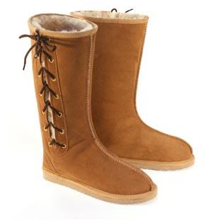 Rip Long Lace Up Ugg Boots - Chestnut