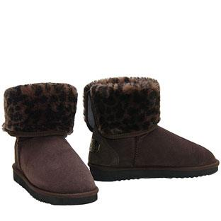 Mini Rosette Ugg Boots - Chocolate Brown Leopard