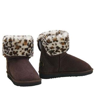 Mini Rosette Ugg Boots - Chocolate Snow Leopard
