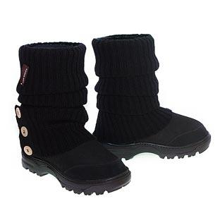 Offroader Short Boots & Knitted Ugg Socks - Black