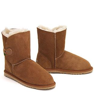 One Button Wraps Ugg Boots - Chestnut