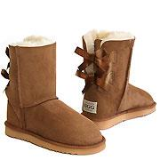 Short Metro Bow Ugg Boots - Chestnut