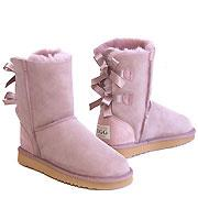 Short Metro Bow Ugg Boots - Dusty Pink