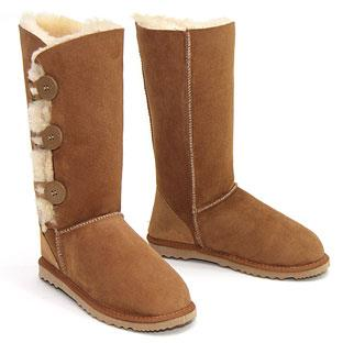 Tall Three Button Wraps Ugg Boots Chestnut