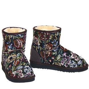 Tapestry Classic Mini Ugg Boots - Chocolate