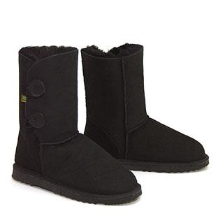 Two Button Wraps Ugg Boots - Black