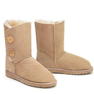 Two Button Wraps Ugg Boots - Sand