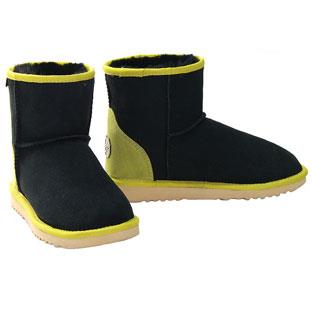 Vegas Mini Ugg Boots - Black-Lime